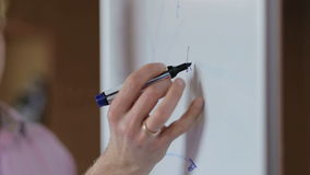 Close-up of hand with marker writing or drawing on flip chart. stock video