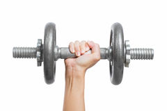 Close up hand men workout dumbbell on white background. Close up hand men workout dumbbell on white background stock images