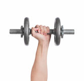 Close up hand men workout dumbbell on white background. Close up hand men workout dumbbell on white background royalty free stock images