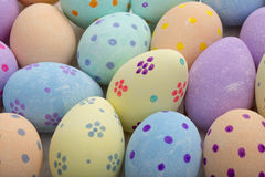 Close Up of Hand-Painted Easter Eggs for Backgrounds. Close up shot of hand-painted pastel eater eggs for backgrounds Stock Images