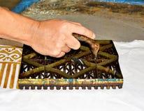 Close Up Hand Painting Batik With Stamp Stock Photos