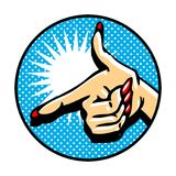 Close-up of hand, pointing like a gun. Popart comic style emblem Stock Photos