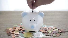 Close up of hand putting coin into piggy bank.  stock video footage
