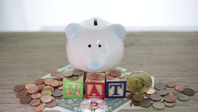 Close up of hand putting coin into piggy bank. Vat concept stock video footage