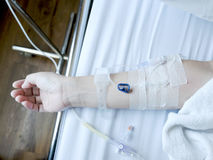 Close up hand with saline solution stock photos