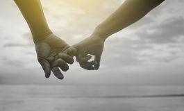 Close up hand of senior couple hook each other's little finger together near seaside at the beach,black and white picture Royalty Free Stock Image