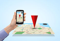 Close up of hand with smartphone gps navigator map Royalty Free Stock Photo