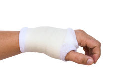 Close-up hand splint for broken bone treatment isolated Stock Photography