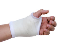 Close-up hand splint for broken bone treatment isolated Royalty Free Stock Photo