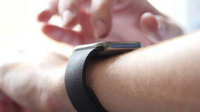 Close Up of Hand suing Smartwatch, Gadget. Creative designer , businessman stock video