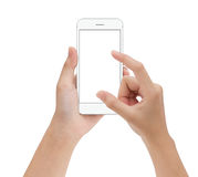 Close-up hand touching phone mobile isolated on white, mock up s royalty free stock images