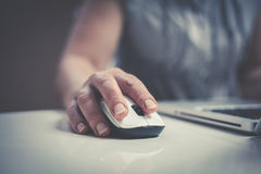 Close up of hand using laptop. Royalty Free Stock Images