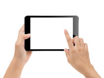 close-up hand using tablet isolated on white clipping path inside, mock-up digital black tablet royalty free stock photo