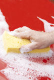 Close Up Of Hand Washing Car Hood Using Sponge Royalty Free Stock Photography