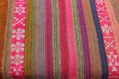 Close up of hand woven fabrics. A Close up of colorful hand woven fabrics for sale at the Sacred Valley in Peru royalty free stock photography
