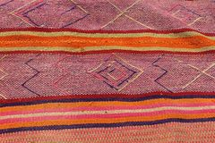 Close up of hand woven fabrics. A Close up of colorful hand woven fabrics for sale at the Sacred Valley in Peru stock photos