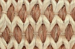 Hand Woven / Tied Rug Detail. Close up of Hand Woven / Tied Rug Detail, Patterned Sisal, Hemp Background Texture stock image