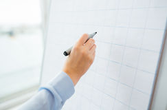 Close up of hand writing something on flip chart Royalty Free Stock Images