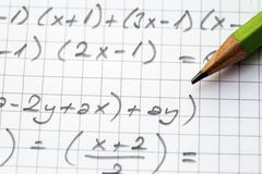 Close-up of Hand written Mathematical Formulas. Concept of Education royalty free stock photos