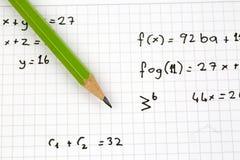 Close-up of Hand written Mathematical Formulas. stock photo