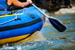 Close-up hand of young person is rafting on the river stock photos
