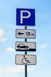 Close-up of a handicapped parking sign Stock Images