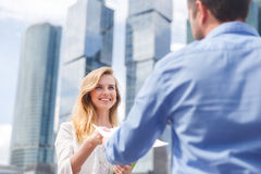 Close-up of handing over documents during business briefing Stock Photography