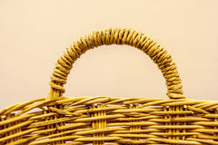 Close up handle wicker basket Stock Images