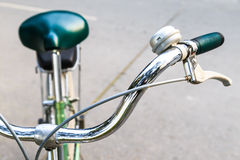 Close-up Handlebar of Bicycle. Close-up Stainless Steel Handlebar of Bicycle Royalty Free Stock Photography