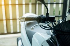 Close up of handlebars and front break on motorcycle. Close up of handlebars and front break on a motorcycle Stock Photo