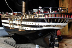Close up of a handmade model ship. Builded my craftsman in Mauritius Royalty Free Stock Photos