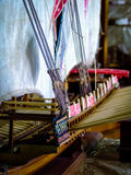 Close up of a handmade model ship, with details. Builded in a small craftsmen's workhouse in Mauritius Stock Image