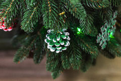 Close up of handmade painted pine cones Stock Photo