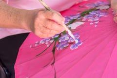 Close up handmade painting flower on Umbrella Stock Photography