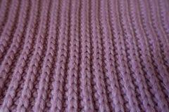 Close up of handmade pink rib knit fabric Stock Photos