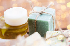 Close up of handmade soap bars on wood Stock Images