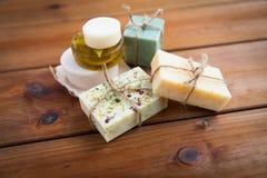 Close up of handmade soap bars on wood Royalty Free Stock Image