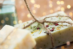 Close up of handmade soap bars on wood Royalty Free Stock Photos