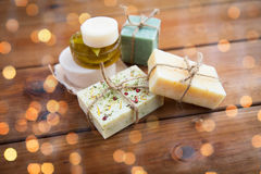 Close up of handmade soap bars on wood Royalty Free Stock Photography