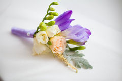 Close up of handmade wedding floral accessory. Stock Photos