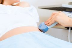 Close-up of hands and abdominal ultrasound scanner Royalty Free Stock Image