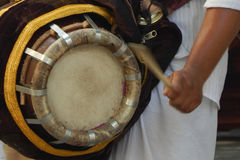 Close up of a hands beating a drum Royalty Free Stock Image