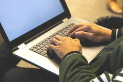 close up of hands of business man.working on laptop royalty free stock images