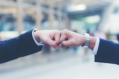Close up hands businessman and partner working of business people join hand together and start up work. Teamwork Concept stock images