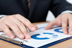 Close up of hands of businessman Stock Images