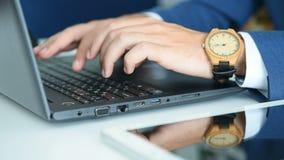 Hands Businessman Working On Laptop