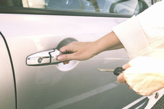 Close up of hands with car keys Royalty Free Stock Image