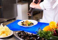 The Chef prepares food. Close up hands of chef adds spices to the dish, preparing food in the kitchen of a restaurant, cooking concept royalty free stock image