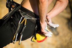 Close-up of the hands of the climber. In the bag with magnesium Royalty Free Stock Photos