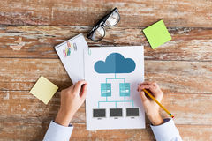 Close up of hands with cloud computing scheme Stock Images